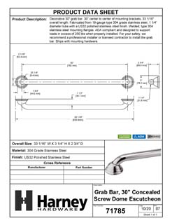 Product Data Specification Sheet Of A Bathroom Grab Bar, Decorative, Dome Escutcheon, 30 In. X 1 1/4 In. - Polished Stainless Steel Finish - Product Number 71785