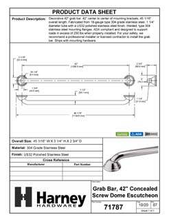 Product Data Specification Sheet Of A Bathroom Grab Bar, Decorative, Dome Escutcheon, 42 In. X 1 1/4 In. - Polished Stainless Steel Finish - Product Number 71787