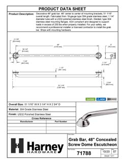 Product Data Specification Sheet Of A Bathroom Grab Bar, Decorative, Dome Escutcheon, 48 In. X 1 1/4 In. - Polished Stainless Steel Finish - Product Number 71788