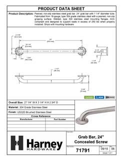 Product Data Specification Sheet Of A Bathroom Grab Bar, Peened Surface, 24 In. X 1 1/4 In. - Satin Stainless Steel Finish - Product Number 71791