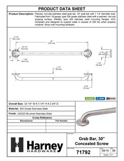 Product Data Specification Sheet Of A Bathroom Grab Bar, Peened Surface, 30 In. X 1 1/4 In. - Satin Stainless Steel Finish - Product Number 71792