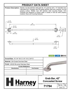 Product Data Specification Sheet Of A Bathroom Grab Bar, Peened Surface, 42 In. X 1 1/4 In. - Satin Stainless Steel Finish - Product Number 71794