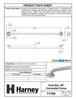 Product Data Specification Sheet Of A Bathroom Grab Bar, Peened Surface, 48 In. X 1 1/4 In. - Satin Stainless Steel Finish - Product Number 71795