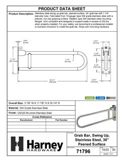 Product Data Specification Sheet Of A Bathroom Swing Up Grab Bar, Peened Surface, 30 In. X 1 1/4 In. - Satin Stainless Steel Finish - Product Number 71796