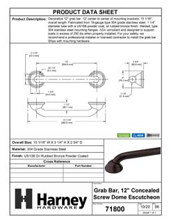 Product Data Specification Sheet Of A Bathroom Grab Bar, Decorative, 12 In. X 1 1/4 In. - Powder Coated Bronze Finish - Product Number 71800