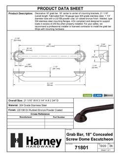 Product Data Specification Sheet Of A Bathroom Grab Bar, Decorative, Dome Escutcheon, 18 In. X 1 1/4 In. - Powder Coated Bronze Finish - Product Number 71801