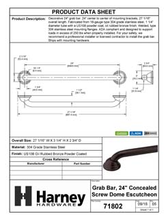 Product Data Specification Sheet Of A Bathroom Grab Bar, Decorative, Dome Escutcheon, 24 In. X 1 1/4 In. - Powder Coated Bronze Finish - Product Number 71802