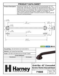 Product Data Specification Sheet Of A Bathroom Grab Bar, Decorative, Dome Escutcheon, 42 In. X 1 1/4 In. - Powder Coated Bronze Finish - Product Number 71805