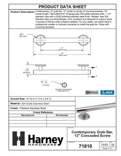Product Data Specification Sheet Of A Bathroom Grab Bar, Contemporary, 12 In. X 1 1/4 In. - Polished Stainless Steel Finish - Product Number 71810