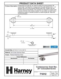 Product Data Specification Sheet Of A Bathroom Grab Bar, Contemporary, 24 In. X 1 1/4 In. - Polished Stainless Steel Finish - Product Number 71812