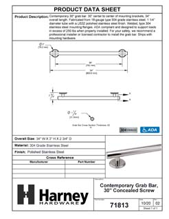 Product Data Specification Sheet Of A Bathroom Grab Bar, Contemporary, 30 In. X 1 1/4 In. - Polished Stainless Steel Finish - Product Number 71813
