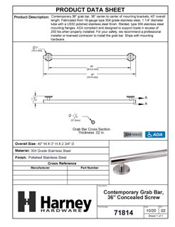 Product Data Specification Sheet Of A Bathroom Grab Bar, Contemporary, Round Escutcheon, 36 In. X 1 1/4 In. - Polished Stainless Steel Finish - Product Number 71814