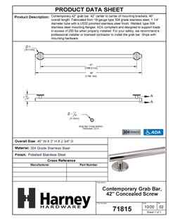 Product Data Specification Sheet Of A Bathroom Grab Bar, Contemporary, Round Escutcheon, 42 In. X 1 1/4 In. - Polished Stainless Steel Finish - Product Number 71815