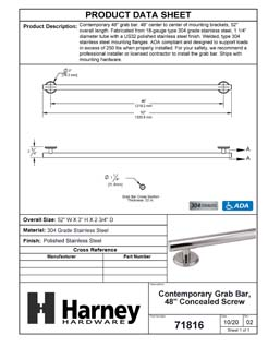 Product Data Specification Sheet Of A Bathroom Grab Bar, Contemporary, 48 In. X 1 1/4 In. - Polished Stainless Steel Finish - Product Number 71816