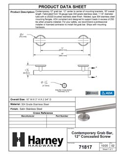 Product Data Specification Sheet Of A Bathroom Grab Bar, Contemporary, 12 In. X 1 1/4 In. - Satin Stainless Steel Finish - Product Number 71817