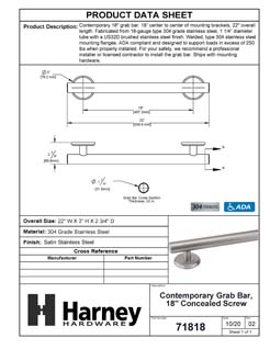 Product Data Specification Sheet Of A Bathroom Grab Bar, Contemporary, 18 In. X 1 1/4 In. - Satin Stainless Steel Finish - Product Number 71818