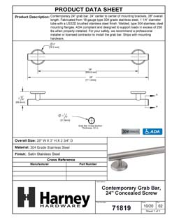 Product Data Specification Sheet Of A Bathroom Grab Bar, Contemporary, 24 In. X 1 1/4 In. - Satin Stainless Steel Finish - Product Number 71819