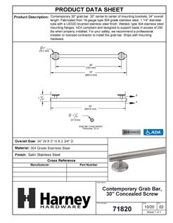 Product Data Specification Sheet Of A Bathroom Grab Bar, Contemporary, Round Escutcheon, 30 In. X 1 1/4 In. - Satin Stainless Steel Finish - Product Number 71820
