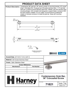 Product Data Specification Sheet Of A Bathroom Grab Bar, Contemporary, 36 In. X 1 1/4 In. - Satin Stainless Steel Finish - Product Number 71821