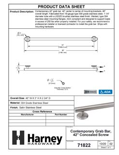 Product Data Specification Sheet Of A Bathroom Grab Bar, Contemporary, Round Escutcheon, 42 In. X 1 1/4 In. - Satin Stainless Steel Finish - Product Number 71822