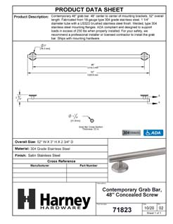Product Data Specification Sheet Of A Bathroom Grab Bar, Contemporary, Round Escutcheon, 48 In. X 1 1/4 In. - Satin Stainless Steel Finish - Product Number 71823