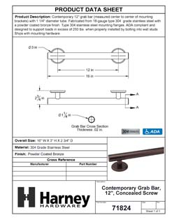 Product Data Specification Sheet Of A Bathroom Grab Bar, Contemporary, 12 In. X 1 1/4 In. - Powder Coated Bronze Finish - Product Number 71824