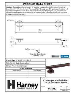 Product Data Specification Sheet Of A Bathroom Grab Bar, Contemporary, 18 In. X 1 1/4 In. - Powder Coated Bronze Finish - Product Number 71825