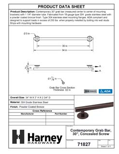 Product Data Specification Sheet Of A Bathroom Grab Bar, Contemporary, 30 In. X 1 1/4 In. - Powder Coated Bronze Finish - Product Number 71827