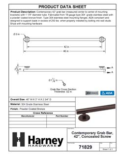 Product Data Specification Sheet Of A Bathroom Grab Bar, Contemporary, 42 In. X 1 1/4 In. - Powder Coated Bronze Finish - Product Number 71829
