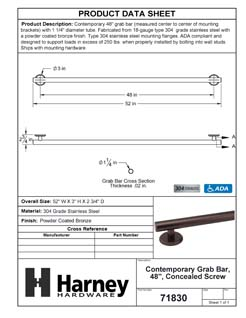 Product Data Specification Sheet Of A Bathroom Grab Bar, Contemporary, 48 In. X 1 1/4 In. - Powder Coated Bronze Finish - Product Number 71830