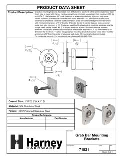 Product Data Specification Sheet Of A Bathroom Grab Bar Mounting Brackets - Polished Stainless Steel Finish - Product Number 71831