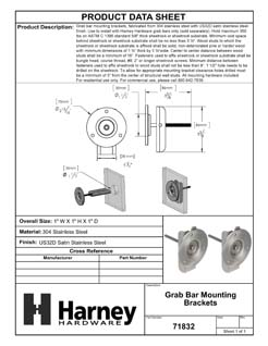Product Data Specification Sheet Of A Bathroom Grab Bar Mounting Brackets - Satin Stainless Steel  Finish - Product Number 71832