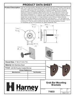 Product Data Specification Sheet Of A Bathroom Grab Bar Mounting Brackets, Pair Packed - Powder Coated Bronze Finish - Product Number 71833