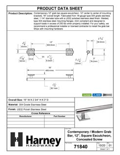 Product Data Specification Sheet Of A Bathroom Grab Bar, Contemporary, Square Escutcheon, 12 In. X 1 1/4 In. - Polished Stainless Steel Finish - Product Number 71840