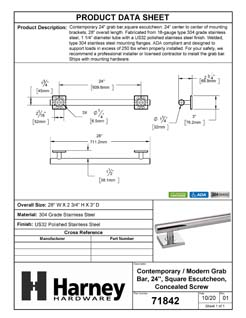 Product Data Specification Sheet Of A Bathroom Grab Bar, Contemporary, Square Escutcheon, 24 In. X 1 1/4 In. - Polished Stainless Steel Finish - Product Number 71842