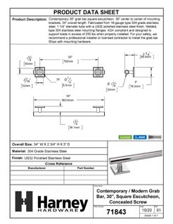 Product Data Specification Sheet Of A Bathroom Grab Bar, Contemporary, Square Escutcheon, 30 In. X 1 1/4 In. - Polished Stainless Steel Finish - Product Number 71843