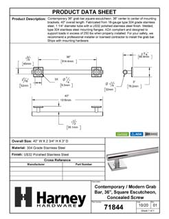 Product Data Specification Sheet Of A Bathroom Grab Bar, Contemporary, Square Escutcheon, 36 In. X 1 1/4 In. - Polished Stainless Steel Finish - Product Number 71844
