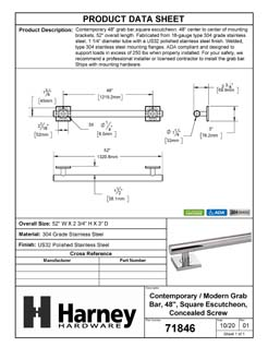 Product Data Specification Sheet Of A Bathroom Grab Bar, Contemporary, Square Escutcheon, 48 In. X 1 1/4 In. - Polished Stainless Steel Finish - Product Number 71846