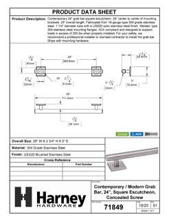 Product Data Specification Sheet Of A Bathroom Grab Bar, Contemporary, Square Escutcheon, 24 In. X 1 1/4 In. - Satin Stainless Steel Finish - Product Number 71849