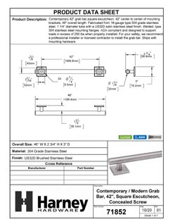 Product Data Specification Sheet Of A Bathroom Grab Bar, Contemporary, Square Escutcheon, 42 In. X 1 1/4 In. - Satin Stainless Steel Finish - Product Number 71852