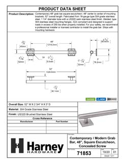 Product Data Specification Sheet Of A Bathroom Grab Bar, Contemporary, Square Escutcheon, 48 In. X 1 1/4 In. - Satin Stainless Steel Finish - Product Number 71853