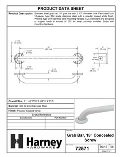 Product Data Specification Sheet Of A Bathroom Grab Bar, 18 In. X 1 1/2 In. - Powder Coated White Finish - Product Number 72571