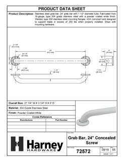 Product Data Specification Sheet Of A Bathroom Grab Bar, 24 In. X 1 1/2 In. - Powder Coated White Finish - Product Number 72572