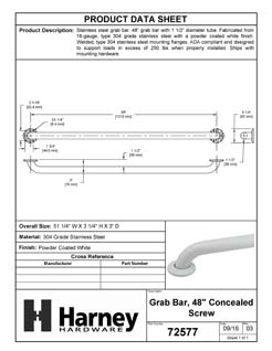 Product Data Specification Sheet Of A Bathroom Grab Bar, 48 In. X 1 1/2 In. - Powder Coated White Finish - Product Number 72577