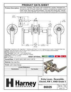 Product Data Specification Sheet Of A Electra  Keyed / Entry Door Lever Set - Satin Nickel Finish - Product Number 86025