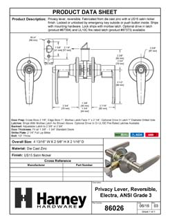 Product Data Specification Sheet Of A Electra Bed / Bath / Privacy Door Lever Set - Satin Nickel Finish - Product Number 86026