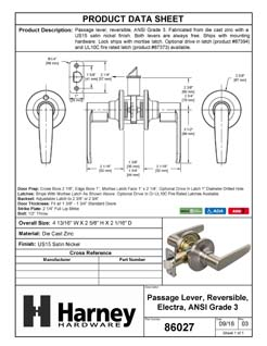 Product Data Specification Sheet Of A Electra Closet / Hall / Passage Door Lever Set - Satin Nickel Finish - Product Number 86027