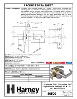 Product Data Specification Sheet Of A Vigilant Commercial Door Lever Set, Entry / Keyed Function, UL Fire Rated, ANSI 2 - Satin Chrome Finish - Product Number 86500