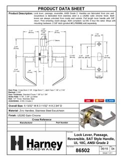 Product Data Specification Sheet Of A Vigilant Commercial Door Lever Set, Passage / Hallway Function, UL Fire Rated, ANSI 2 - Satin Chrome Finish - Product Number 86502