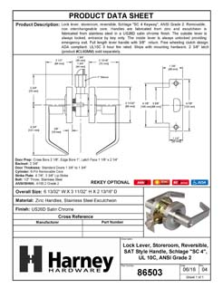 Product Data Specification Sheet Of A Vigilant Commercial Door Lever Set, Storeroom / Keyed Function, UL Fire Rated, ANSI 2 - Satin Chrome Finish - Product Number 86503
